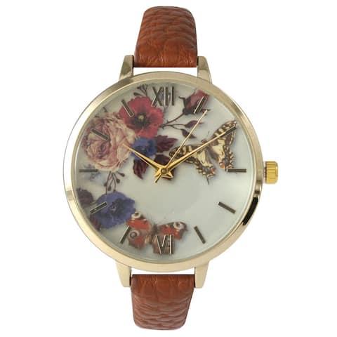 Olivia Pratt Women's Leather Vintage Style Flowers and Butterflies Watch