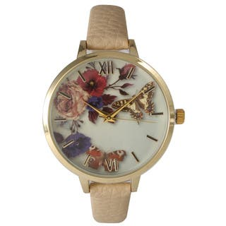 Olivia Pratt Women's Leather Vintage Style Flowers and Butterflies Watch|https://ak1.ostkcdn.com/images/products/11197917/P18187919.jpg?impolicy=medium
