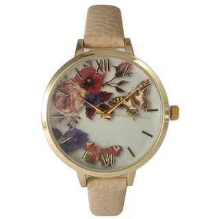 Olivia Pratt Women's Leather Vintage Style Flowers and Butterflies Watch (5 options available)