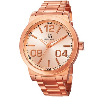 Joshua & Sons Bold Men's Quartz Large Arabic Numerals Rose-Tone Bracelet Watch