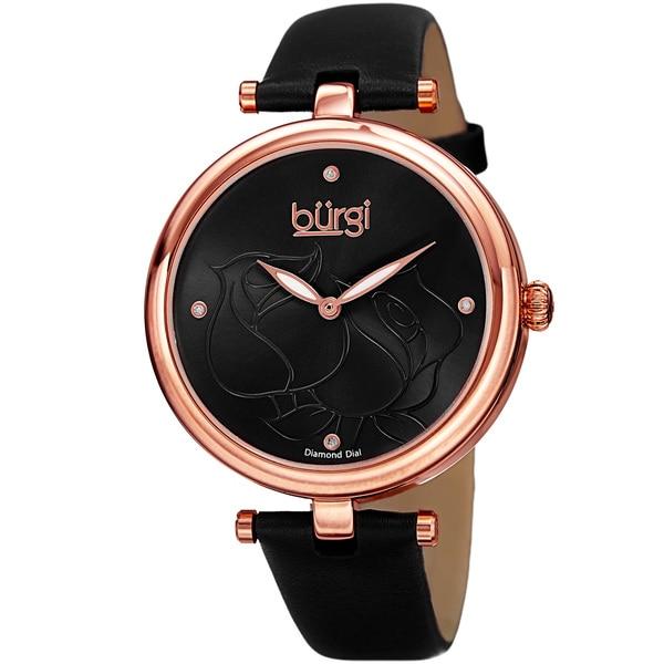 Burgi Women's Quartz Floral Rose Design Leather Black Strap Watch