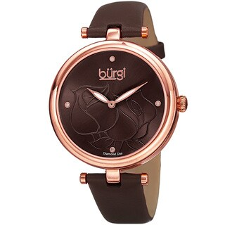 Burgi Women's Quartz Floral Rose Design Leather Brown Strap Watch