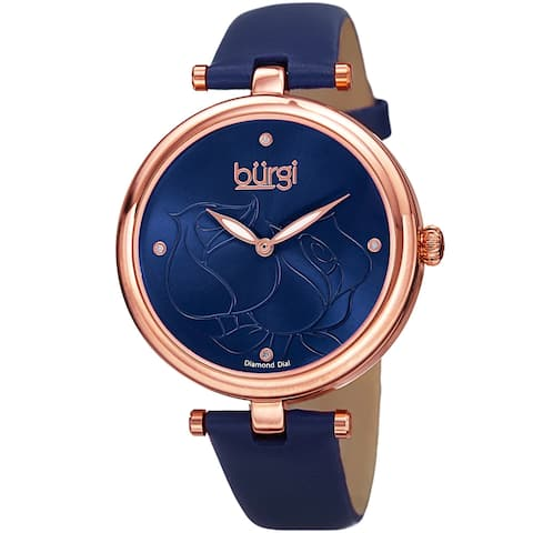 Burgi Women's Quartz Floral Rose Design Leather Blue Strap Watch