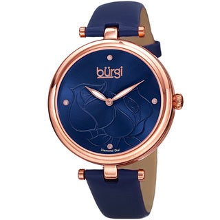 Burgi Women's Quartz Floral Rose Design Leather Blue Strap Watch