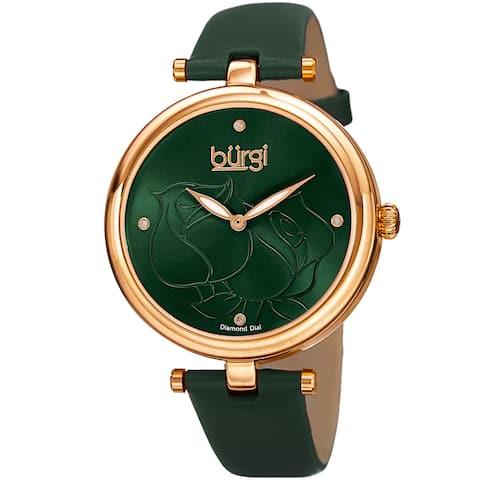 Burgi Women's Quartz Floral Leather Green Strap Watch