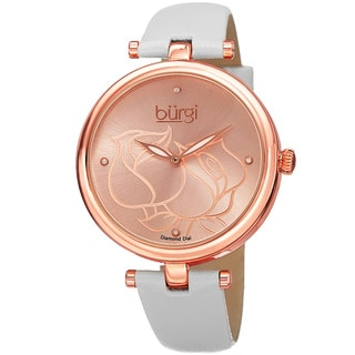 Burgi Women's Quartz Floral Design Leather White Strap Watch