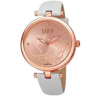 Burgi Women's Quartz Floral Design Leather White Strap Watch