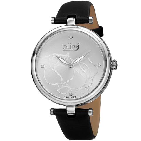Burgi Women's Quartz Floral Design Leather Silver-Tone Strap Watch - silver