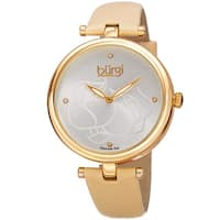 Burgi Women's Quartz Floral Design Leather Gold-Tone Strap Watch - Two-tone