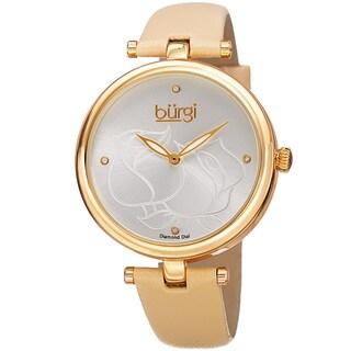 Burgi Women's Quartz Floral Design Leather Gold-Tone Strap Watch - Two-tone