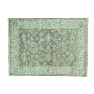 Washed Out Oushak Pure Wool Hand-knotted Oriental Rug (5' x 6'7)