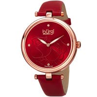 Burgi Women's Quartz Floral Rose Design Leather Red Strap Watch with FREE Bangle