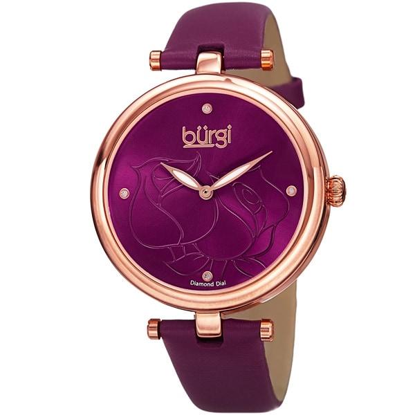 Burgi Women's Quartz Floral Design Leather Strap Watch - Purple