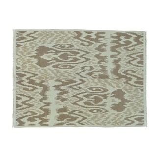 Soumak Flat Weave Ikat Hand-woven Pure Wool Rug (5' x 6'9)
