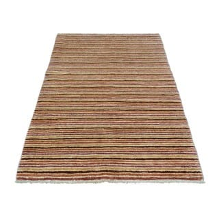 Striped Modern Gabbeh Pure Wool Hand-knotted Oriental Rug (3'2 x 5'1)