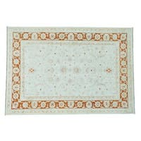 Hand-knotted White Wash Oushak Pure Wool Oriental Rug (6' x 8'10)