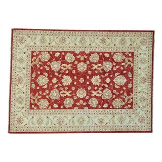 Rust Red Oushak Hand-knotted Pure Wool Oriental Rug (5'8 x 7'9)