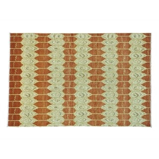 Honey Brown Ikat Uzbek Pure Wool Hand-knotted Rug (6' x 9')