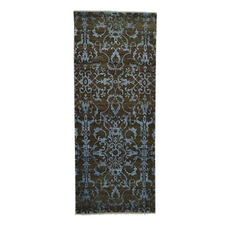 Damask Wool and Silk Oriental Handmade Runner Rug (2'7 x 6'4)