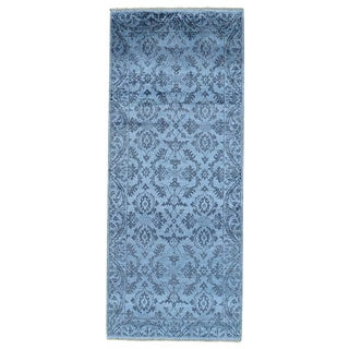 Damask Wool and Silk Handmade Oriental Runner Rug (2'9 x 6'9)