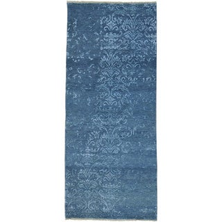 Damask Wool and Silk Tone On Tone Hand-knotted Runner Rug (2'10 x 6'8)
