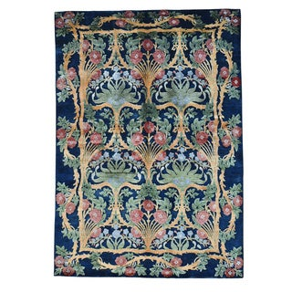 Viscose from Bamboo Modern Arts and Crafts Handmade Oriental Rug - 5'7 x 8'