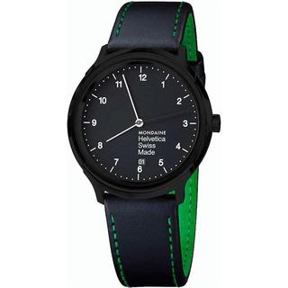 Mondaine Men's MH1R2221LB 'Helvetica No. 1 New York Edition' Black Leather Watch