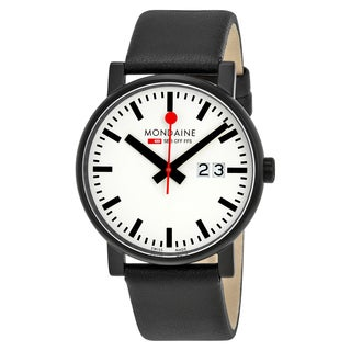 Mondaine Men's A627.30303.61SBB 'Evo Big' White Dial Black Leather Strap Swiss Quartz Watch
