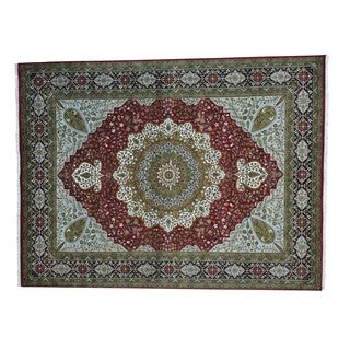 Wool and Silk Kashan 300 KPSI Hand-knotted Oriental Rug (9'2 x 12'2)