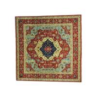 Antiqued Heriz Pure Wool Hand-knotted Oriental Rug (11'8 x 11'9)