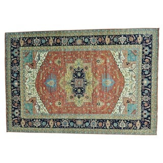 Oversize Antiqued Heriz Recreation Handmade Pure Wool Rug (12'2 x 17'10)