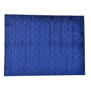Navy Blue Overdyed Wool and Viscose From Bamboo Loomed Oriental Rug (9' x 12')