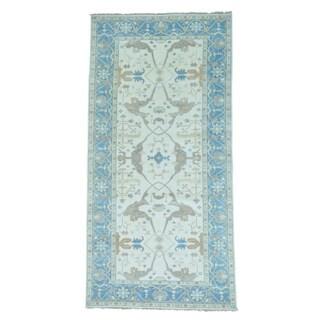 Ivory Handmade Oushak Pure Wool Oriental Rug (6' x 12')