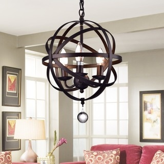 Riza 3-light Antique Bronze 12-inch Crystal Chandelier