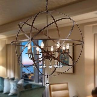 Link to Jossie 8-light Crystal 30-inch Bronze-finish Chandelier Similar Items in Chandeliers
