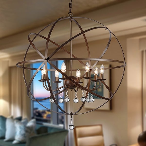 Jossie 8-light Crystal 30-inch Bronze-finish Chandelier. Opens flyout.