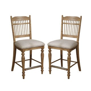 Lake House Brushed Sand 24-inch Spindle Barstool (Set of 2)