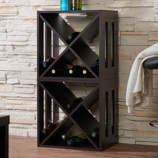 Furniture of America Minno Contemporary Espresso Crossing Wine Rack