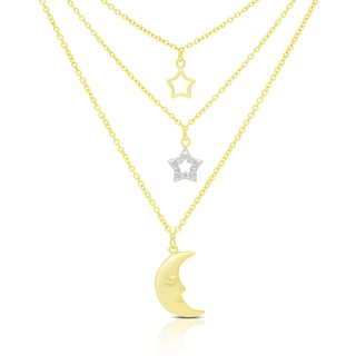 Finesque Gold Over Silver Or Sterling Silver Hanging Stars and Moon Necklace