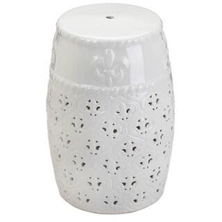 White Fleur De Lis Lacy Ceramic Stool