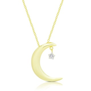 Finesque Gold Over Silver Or Sterling Silver Diamond Accent Moon and Star Necklace