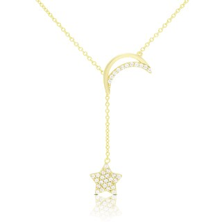 Dolce Giavonna Gold Over Silver Or Sterling Silver Cubic Zirconia Moon and Hanging Star Necklace