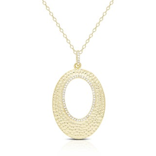 Samantha Stone Gold Over Silver or Sterling Silver Cubic Zirconia Open Oval Hammered