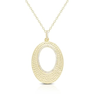 Samantha Stone Gold Over Silver or Sterling Silver Cubic Zirconia Open Oval Hammered|https://ak1.ostkcdn.com/images/products/11198333/P18188238.jpg?impolicy=medium