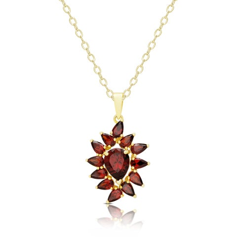 Dolce Giavonna Gold Over Silver Simulated Garnet Flower Design Necklace