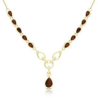 Dolce Giavonna Gold Over Silver Garnet Teardrop Necklace