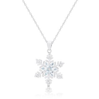 Dolce Giavonna Silver Overlay Diamond Accent Blue Topaz and Cubic Zirconia Snowflake Necklace
