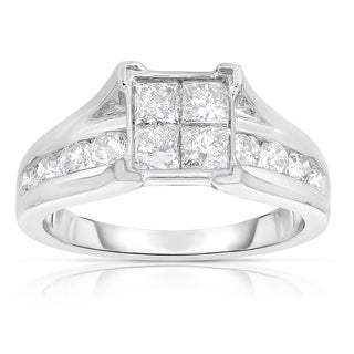 Eloquence 10k White Gold 1 3/8ct TDW Diamond Composite Engagement Ring (J-K, I2-I3)