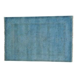 Handmade Sky Blue Overdyed Oushak Pure Wool Oriental Rug (5'10 x 8'9)