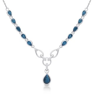 Dolce Giavonna Sterling Silver London Blue Topaz Teardrop Necklace